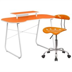 Flash Furniture Computer Desk with Monitor Stand and Tractor Chair in Orange