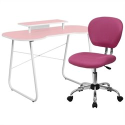 Flash Furniture Computer Desk with Monitor Stand and Swivel Chair in Pink