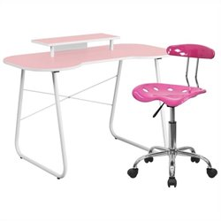 Flash Furniture Computer Desk with Monitor Stand and Tractor Chair in Pink