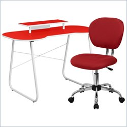 Flash Furniture Computer Desk with Monitor Stand and Swivel Chair in Red