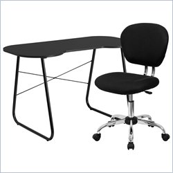 Flash Furniture Computer Desk and Swivel Chair in Black