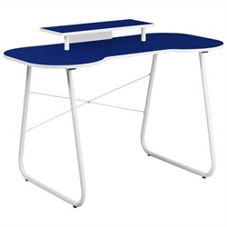 Flash Furniture Computer Desk in Navy and White with Monitor Stand