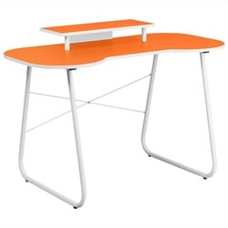 Flash Furniture Computer Desk in Orange and White with Monitor Stand