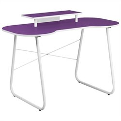 Flash Furniture Computer Desk in Purple and White with Monitor Stand