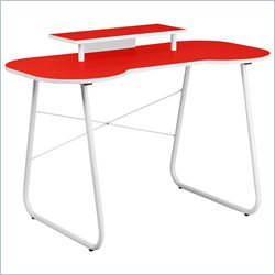 Flash Furniture Computer Desk in Red and White with Monitor Stand