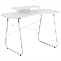 Flash Furniture Computer Desk in White with Monitor Stand