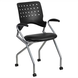 Flash Furniture Galaxy Mobile Leather Nesting Folding Chair in Black