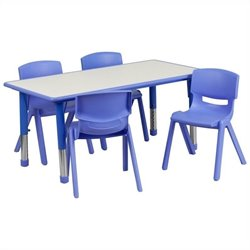 Flash Furniture Plastic Activity Table Set with 4 School Stacking Chairs in Blue