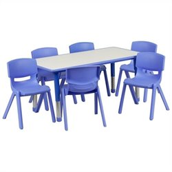 Flash Furniture Plastic Activity Table Set with 6 School Stacking Chairs in Blue