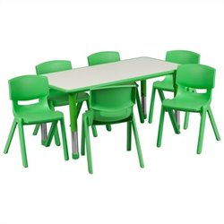 Flash Furniture Plastic Activity Table Set with 6 School Stacking Chairs in Green