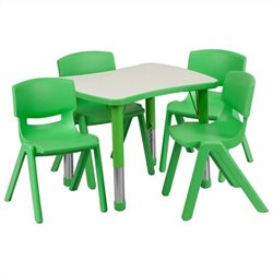 Flash Furniture Curved Rectangular Plastic Activity Table Set with 4 School Stack Chairs in Green