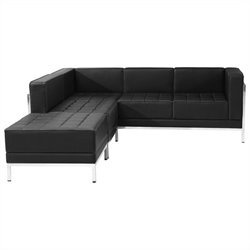 Flash Furniture Hercules Imagination Series 3-Piece Reception Configuration in Black