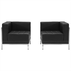Flash Furniture Hercules Imagination Series 2-Piece Reception Configuration in Black