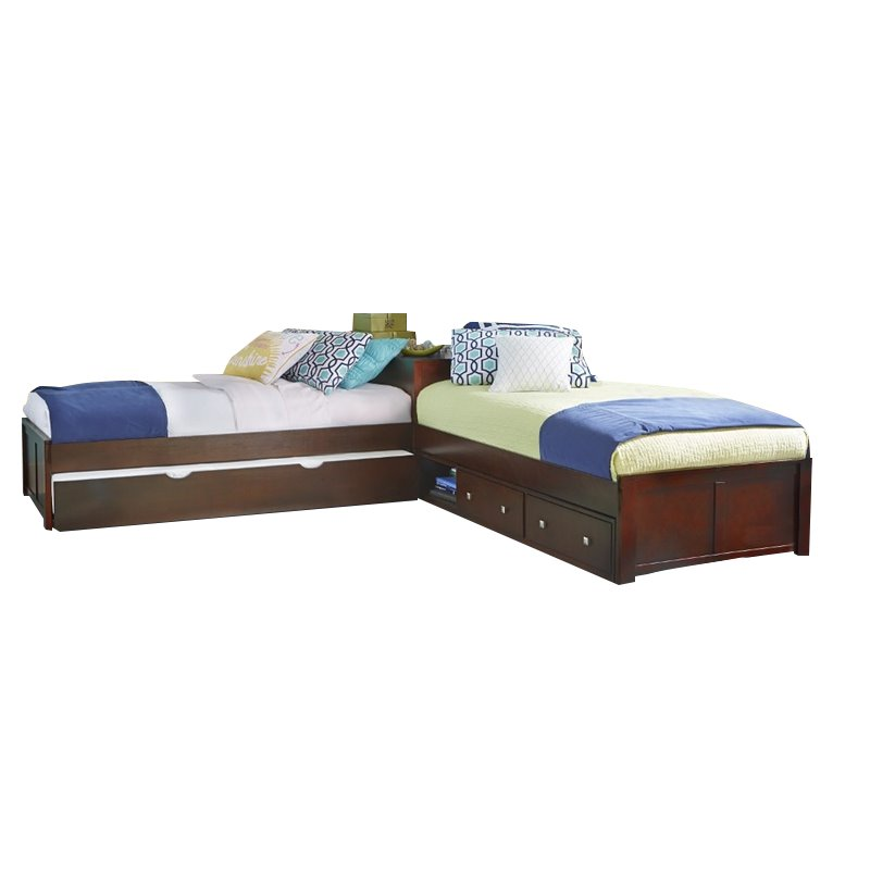 NE Kids Pulse Twin L Shaped Storage Bed with Trundle in Cherry