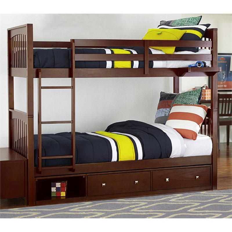 NE Kids Pulse Twin Over Twin Storage Slat Bunk Bed in Cherry