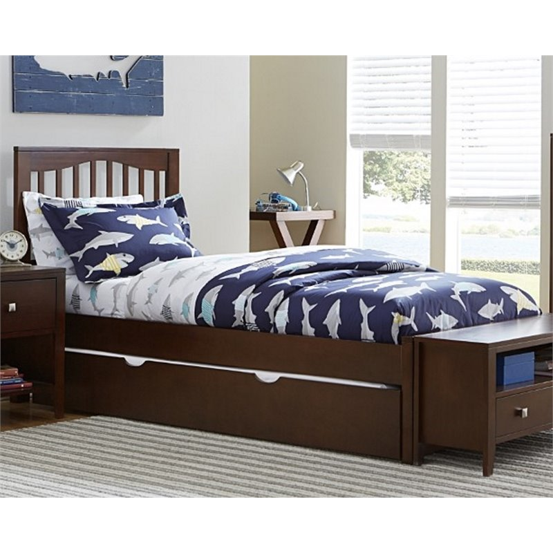 NE Kids Pulse Full Slat Bed with Trundle in Chocolate