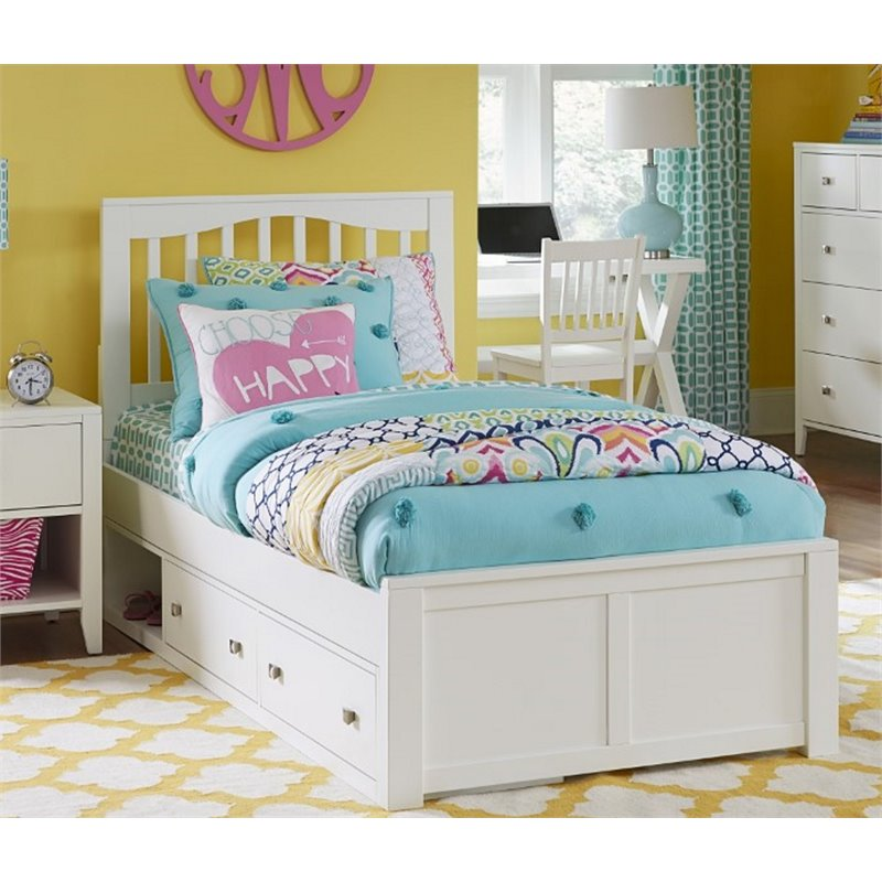 NE Kids Pulse Full Storage Slat Bed in White