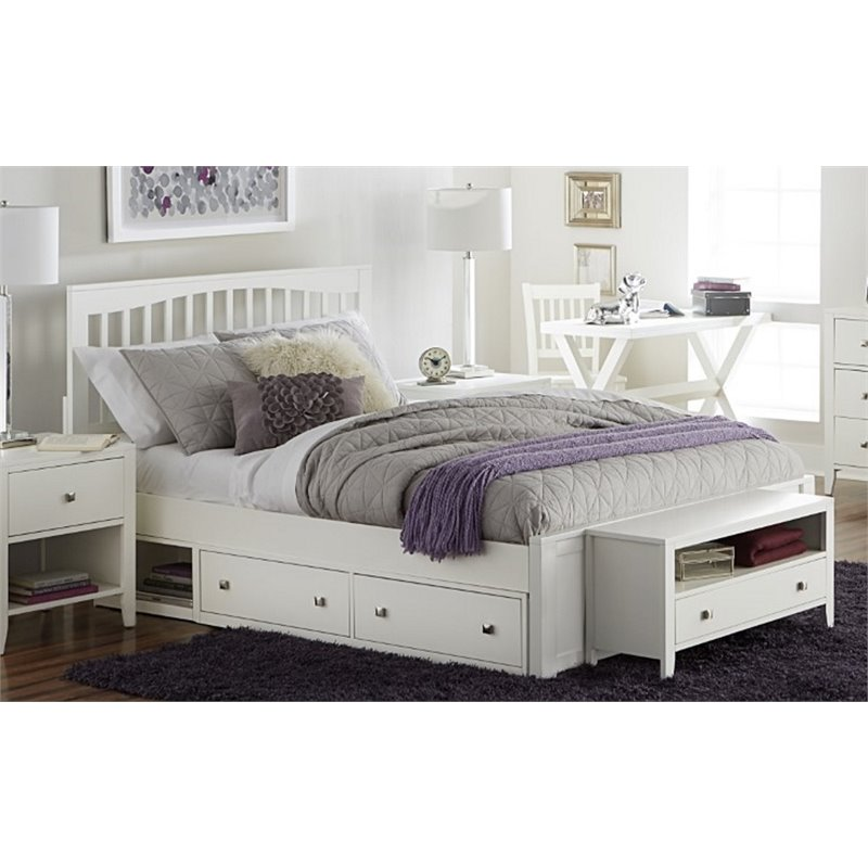 NE Kids Pulse King Storage Slat Bed in White