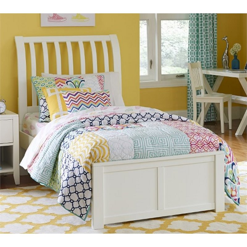 NE Kids Pulse Twin Sleigh Bed in White