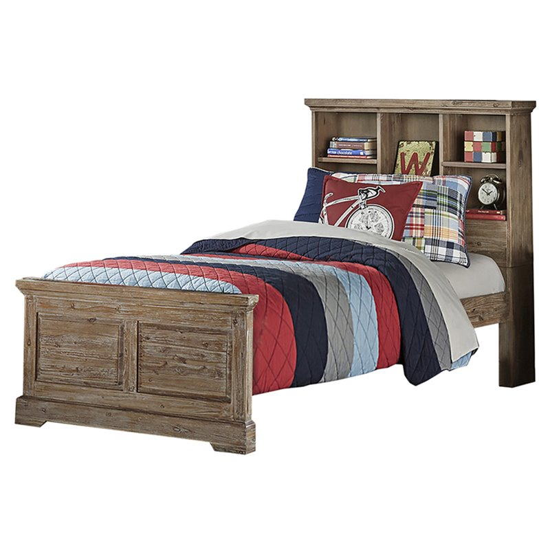 NE Kids Oxford Twin Bookcase Bed in Cocoa