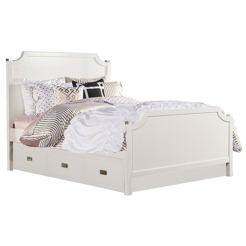 NE Kids Tinley Park Full Panel Bed With Trundle in Soft White