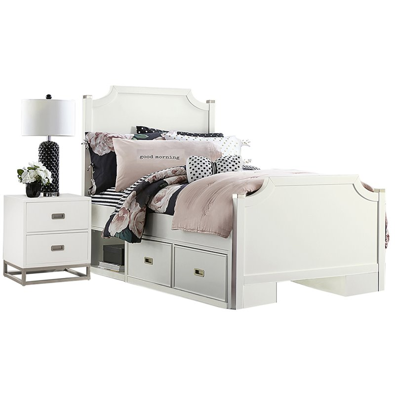 NE Kids Tinley Park Full Double Storage Panel Bed in Soft White