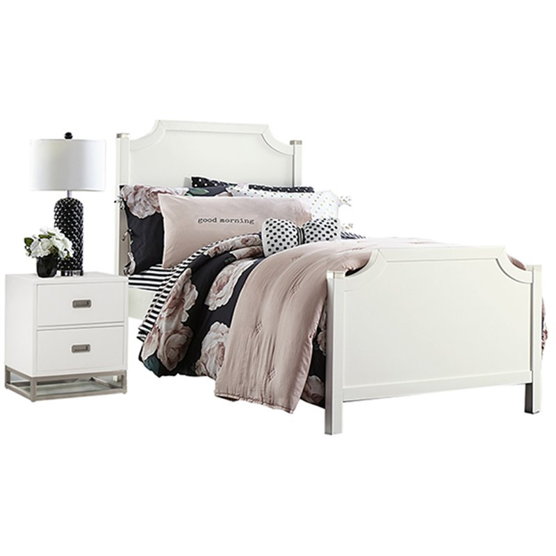 NE Kids Tinley Park Twin Panel Bed in Soft White