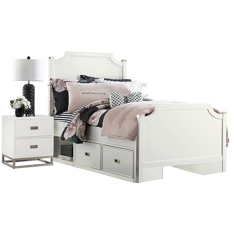 NE Kids Tinley Park Twin Double Storage Panel Bed in Soft White