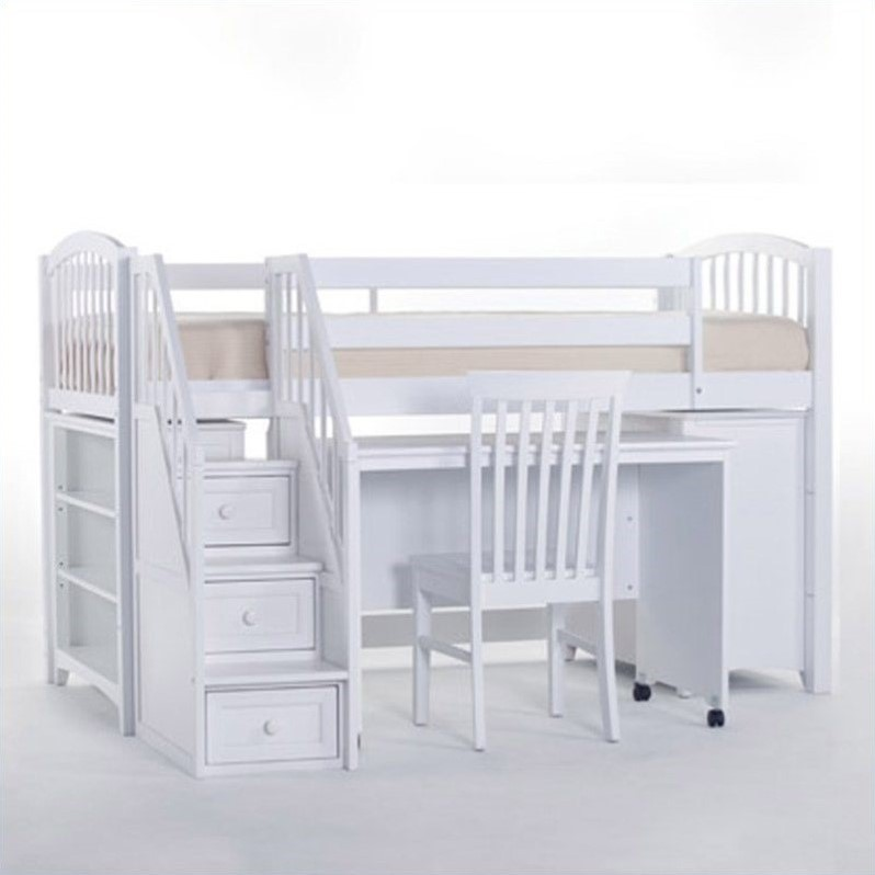 Ne kids school house junior loft bed with stairs in white for Junior bunk bed