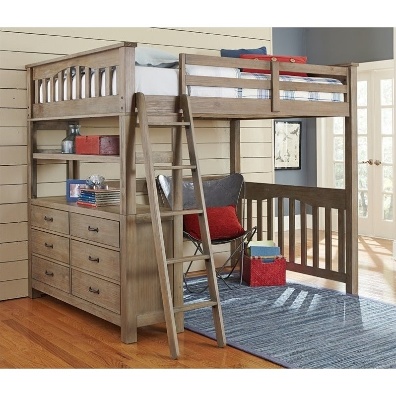 NE Kids Highlands Full Loft Bed with Hanging Shelf in Driftwood