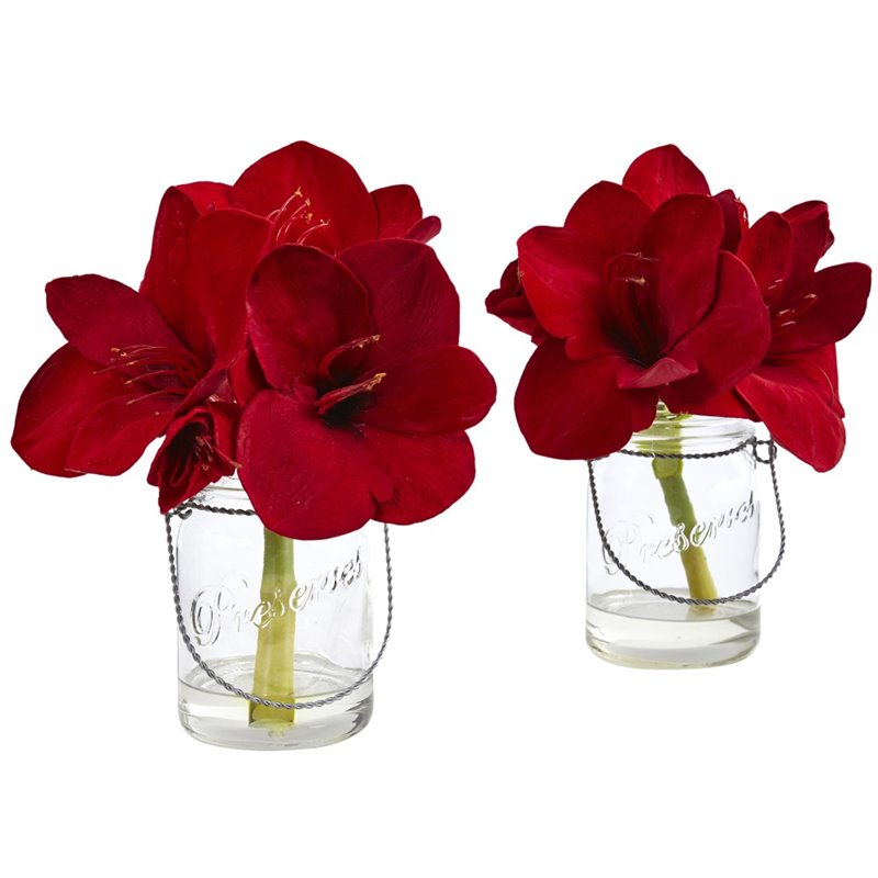 Nearly Natural Amaryllis in Glass Vase in Red (Set of 2)
