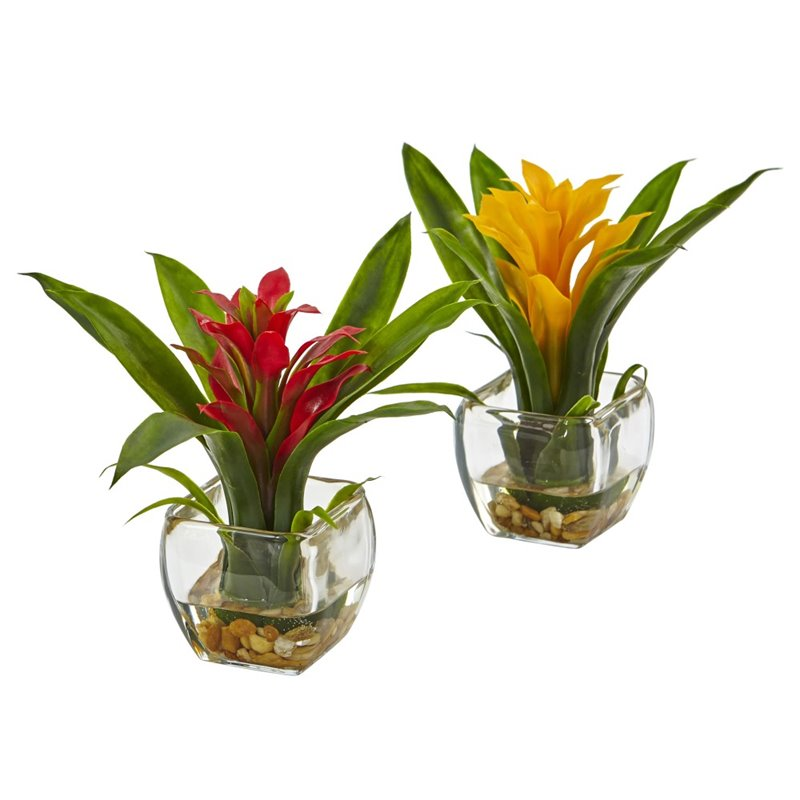 Nearly Natural Bromeliad with Vase Arrangement (Set of 2) 6898-S2