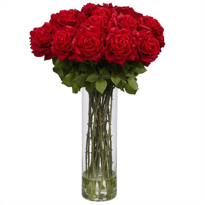 Nearly Natural Giant Rose Silk Flower Arrangement in Red