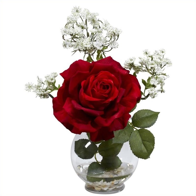 Nearly Natural Rose and Gypso with Fluted Vase Silk Flower Arrangement in Red 1282