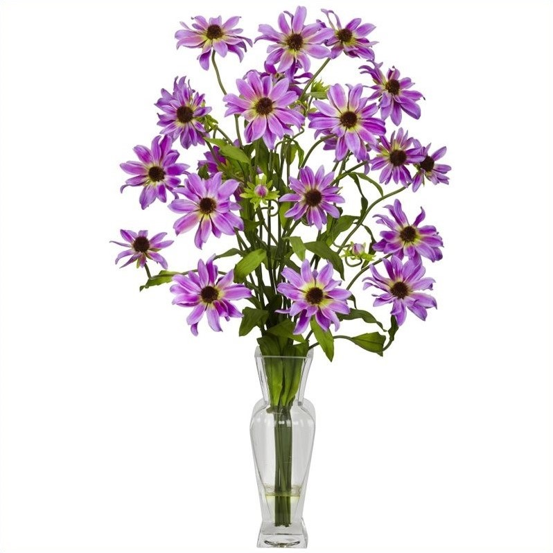 Nearly Natural Cosmos With Vase Silk Flower Arrangement In Purple 1172-PP