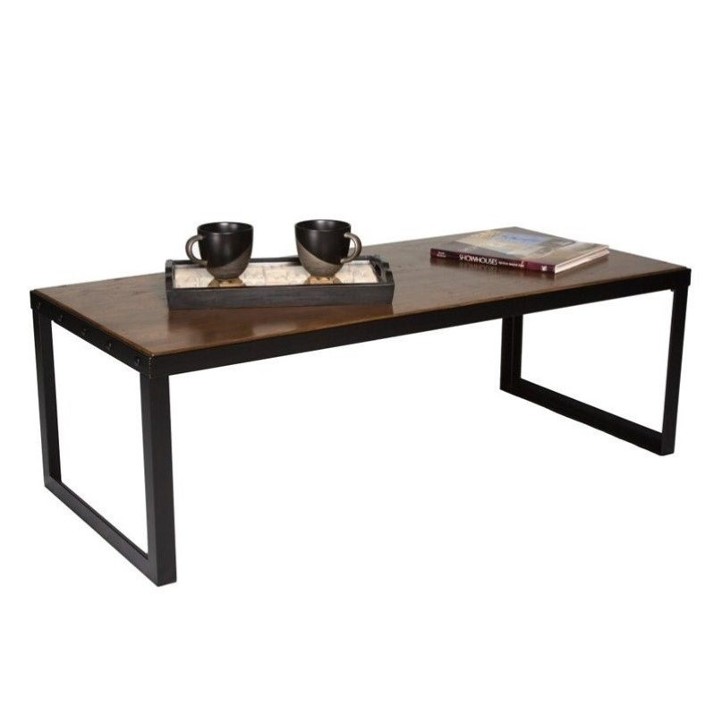 Proman Belvidere Chic Coffee Table in Walnut and Black
