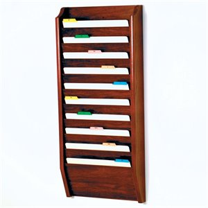 Wooden Mallet 10 Pocket Legal Size Wall File Holder in Mahogany
