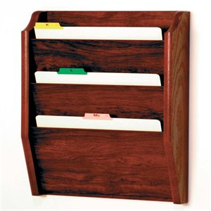 Wooden Mallet 3 Pocket Legal Size Wall File Holder in Mahogany