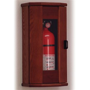 Wooden Mallet 10 lbs Fire Extinguisher Cabinet in Mahogany