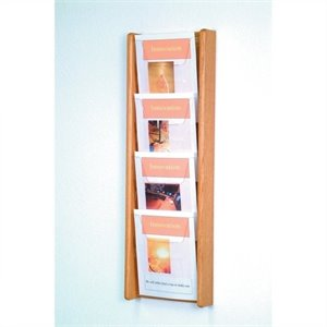 Wooden Mallet 4 Pocket Acrylic and Oak Literature Display in Light Oak