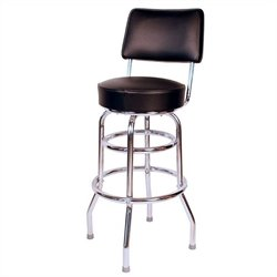 Richardson Seating Retro 1950s 30 Swivel Bar Stool with Black Seat