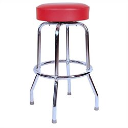 Richardson Seating Retro 1950s Backless Swivel Bar Stool with Red Seat