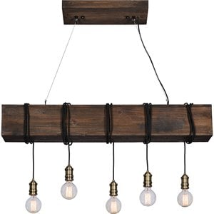 Renwil New Traditional Kidarce 5 Light Island Pendant in Natural