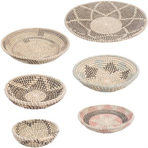 Renwil New Traditional Elmina 7 Piece Basket Set in Beige and Black