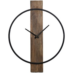 Renwil Pearl Wall Clock in Natural and Black