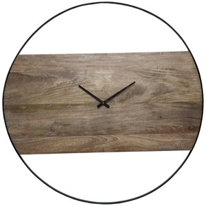 Renwil Amika Wall Clock in Natural and Black