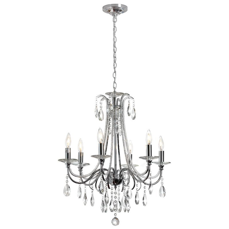 Dainolite 6 Light Crystal Chandelier in Polished Chrome 615-246C-PC