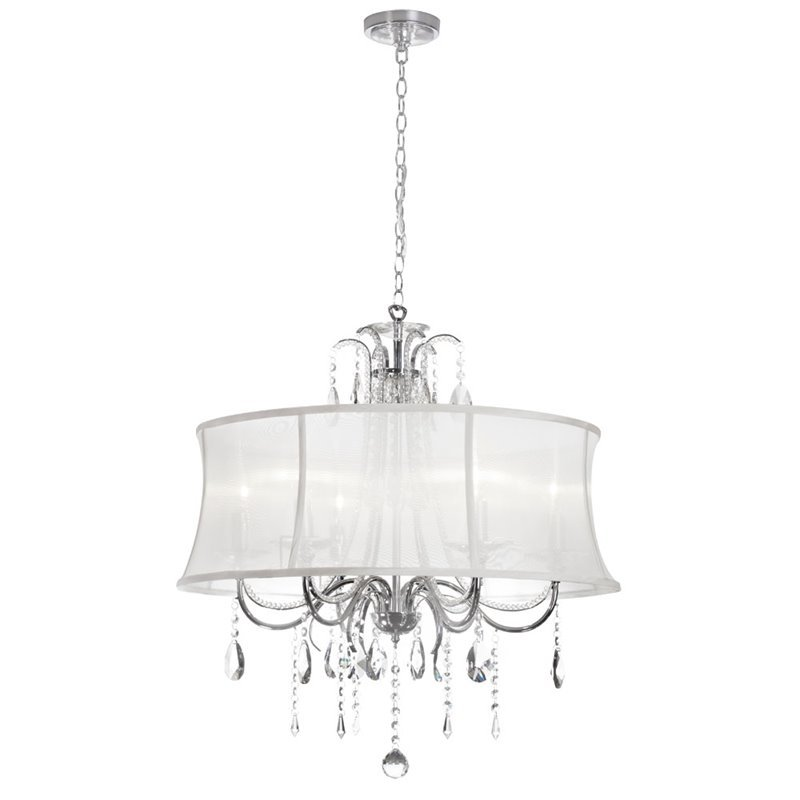 Dainolite 6 Light Crystal Chandelier with White Organza Shade in Polished Chrome 615-270C-PC-119
