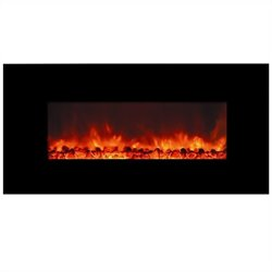 Yosemite Carbon Flame 40'' Wall-Mount Electric Fireplace in Black