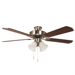 Yosemite 52 Inch Ceiling Fan in Bright Brush Nickel Finish with 4 lights